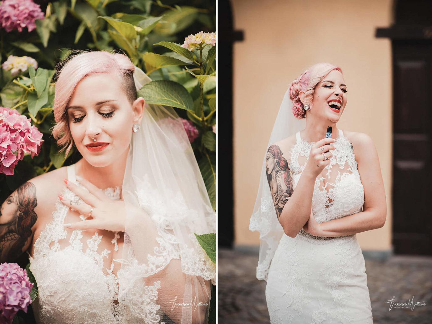 Sposa con tatuaggio, piercing e capelli rosa shocking fotografia di Francesco Matturro
